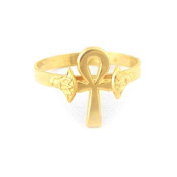 18k ankh key ring  with lotus flowers (Rings Collection)