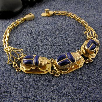 18K gold 3 Lapis Scarabs bracelet