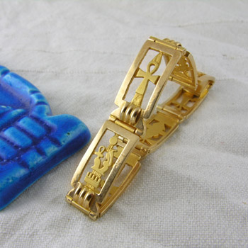 18K Gold Ankh key and Ancient Egypt's Kings bracelet