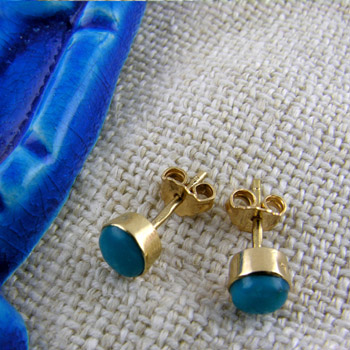 18k gold earrings with blue stone (jewelry gifts)