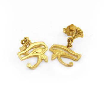18k gold eye of Horus earrings with two lotus flowers (jewelry gifts)