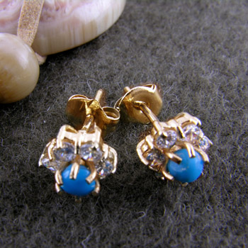 18k gold flower earrings with spherical turquoise stone (jewelry gifts)