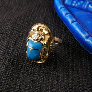 18k gold ring with blue turquoise scarab (Rings Collection)