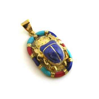 18K Gold scarab with blue stone and colored Enamel (jewelry gifts)