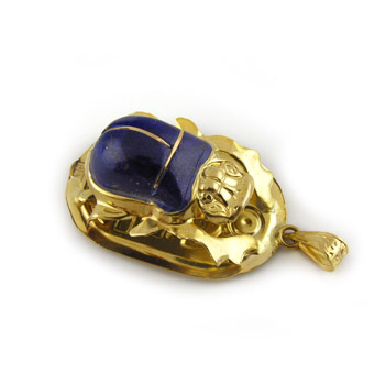 18K Gold scarab with Lapis stone (jewelry gifts)