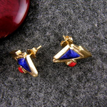 18k gold three pyramids earrings (jewelry gifts)