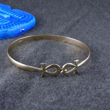 coupled ankh key silver bracelet