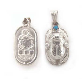 Double side silver scarab pendant (jewelry gifts)