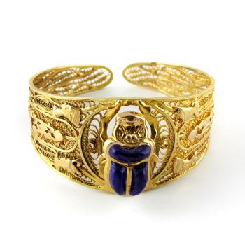Egyptian gold scarab bracelet