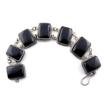 Egyptian inspired silver and Black tile bracelet