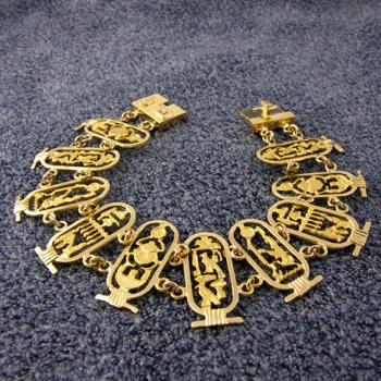 Egyptian pharaohs and kings cartouches gold bracelet