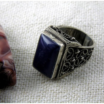 Filigree silver ring With big square dark blue stone (Rings Collection)