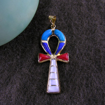 Gold Ankh key pendant Filled and decorated with colored Enamel (jewelry gifts)