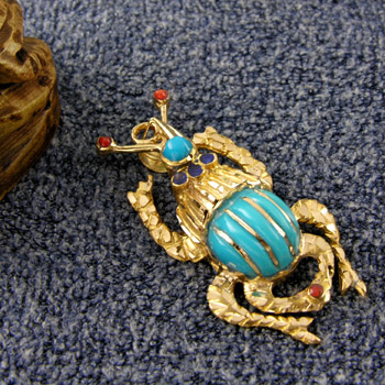 Gold handmade scarab with light blue stone on the back & on head pendant (jewelry gifts)