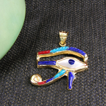 Gold Horus eye with colored Enamel (jewelry gifts)