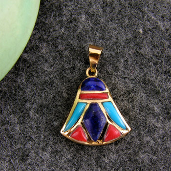 Gold royal lotus flower pendant decorated & filled with colored Enamel (jewelry gifts)