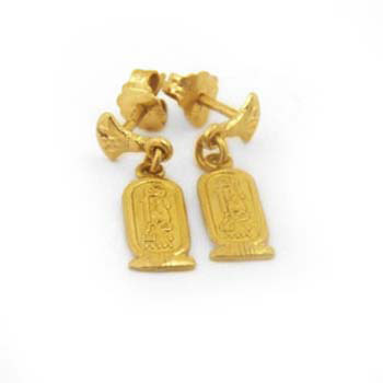 Personalized 18k gold cartouche earrings with two lotus flowers (personalized gifts)