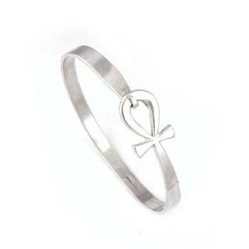 Silver ankh key bracelet