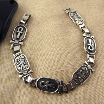 Silver ankh key cartouches and Egyptian kings cartouches bracelet