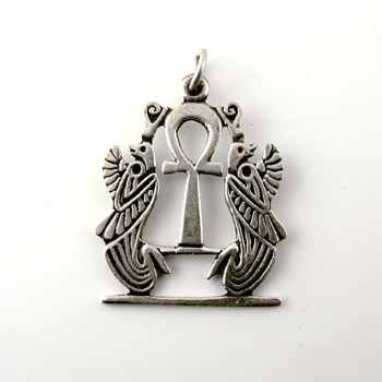 Silver ankh key with king Horus symbols pendant (jewelry gifts)