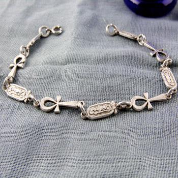 Silver ankh keys and Egyptian cartouches bracelet
