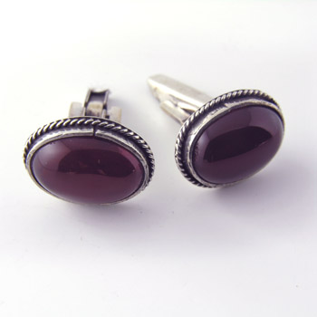 Silver cufflinks with coral stone (jewelry gifts)