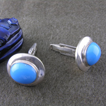 Silver cufflinks with turquoise stone (jewelry gifts)