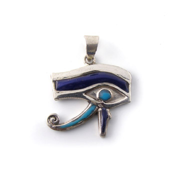 silver eye of Horus filled & decorated with colored Enamel pendant (jewelry gifts)