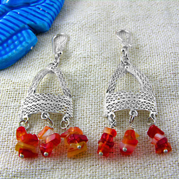 Silver filigree earrings with red Lapis stone (jewelry gifts)