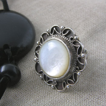 Silver filigree ring with white stone (Rings Collection)