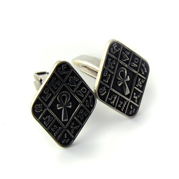Silver Oblique square cufflinks with embossed ankh key in the middle & alphabet border (jewelry gifts)