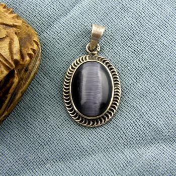Silver pendant with dark gray multi colored stone & filigree border (jewelry gifts)