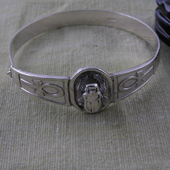 Silver scarab with ankhs bangle