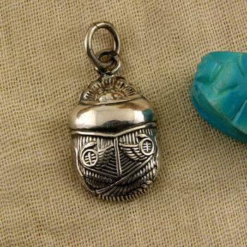 solid Silver scarab pendant (jewelry gifts)