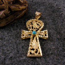 18K Gold Ankh key with Diamond cut pendant With turquoise stone. (jewelry gifts)