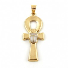 18k Gold Ankh key with white stone Scarab (jewelry gifts)