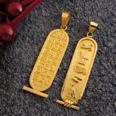 18k gold Double Sided gold Egyptian Cartouche with hieroglyphic symbols table on back (personalized gifts )
