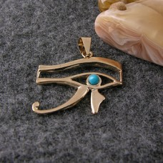 18K Gold Eye of Horus pendant With a turquoise stone (jewelry gifts)