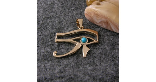 18K Gold Eye of Horus pendant With a turquoise stone (jewelry gifts ... 12298e5e0c25