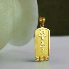Special 18k SOLID gold double sided Egyptian cartouche with Symbol of power, Health & life on the back.